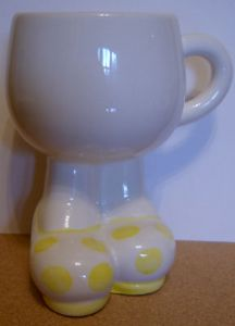 Carlton Ware Lustre Pottery Walking Ware Big Foot Yellow Spot Cup - 1980s